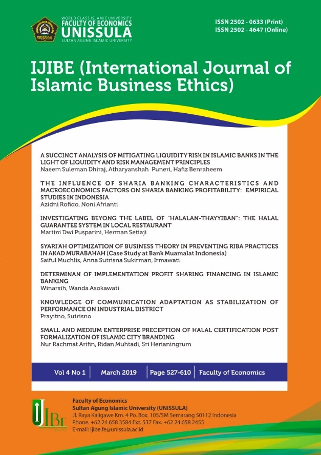 IJIBE (International Journal of Islamic Business Ethics)